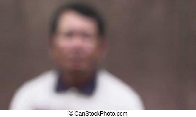 sérieux, homme, vieux, asiatique, portrait