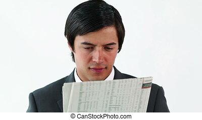 sérieux, lecture, cadre, journal