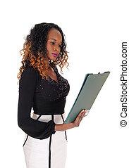 sérieux, lecture femme, elle, paper.