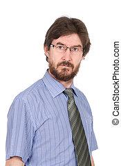 sérieux, lunettes, jeune homme, portrait