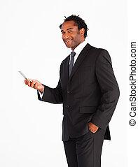 sérieux, message, homme affaires, texte, envoi