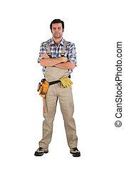 sérieux, ouvrier, bras croisés
