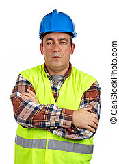 sérieux, ouvrier construction