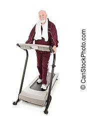 sérieux, personne agee, sur, fitness