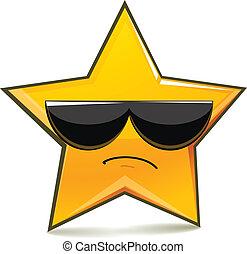 sério, óculos de sol, estrela, engraçado