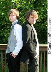 sério, adolescentes, tuxedoed, casual
