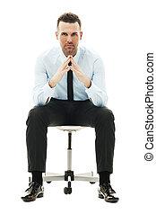 sério, cadeira, homem negócios, sentando