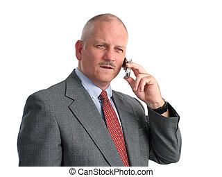 sério, chamada, telefone