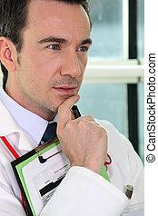 sério, close-up, doutor