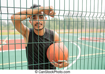 sério, contra, rede, jogador, basquetebol, macho, bola, ficar