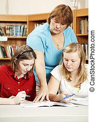 sério, escola, -, estudos, biblioteca