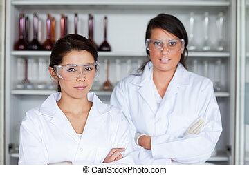 sério, femininas, posar, cientistas