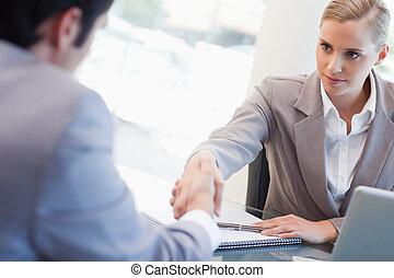 sério, gerente, candidato, macho, entrevistar