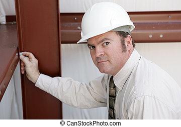 sério, inspetor, construção, -