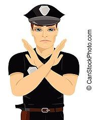 sério, jovem, policial, fazer, x, sinal, forma, com, seu, braços, e, mãos