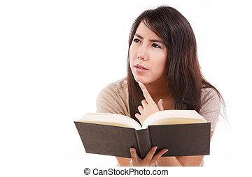 sério, livro, jovem, femininas