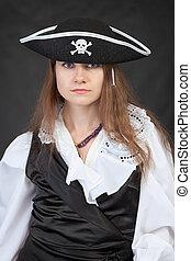 sério, mulher, chapéu, pirata, retrato