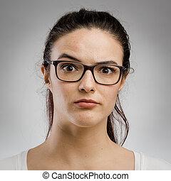 sério, mulher, expressão