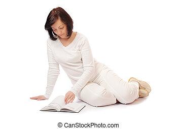 sério, mulher, jovem, livro
