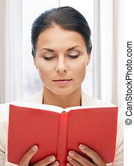 sério, mulher, livro, pacata