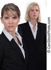 sério, mulheres negócios