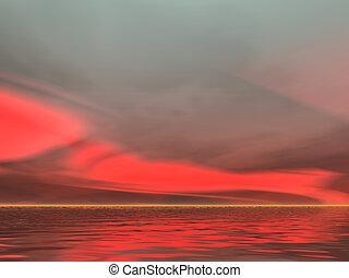 sério, vermelho, amanhecer