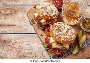 sésamo, bollos, dos, cheeseburgers