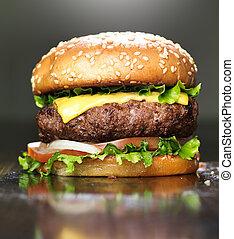 sésamo, queso, fundido, bollo, hamburguesa