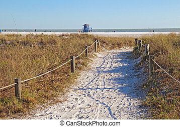 sétány, fordíts, délutáni pihenő, kulcs, tengerpart, alatt, sarasota, florida
