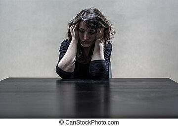 sévère, femme, souffrance, dépression