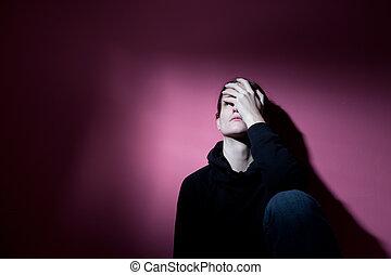 sévère, souffrance, femme, jeune, dépression