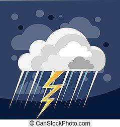 sévère, temps, orage, icône