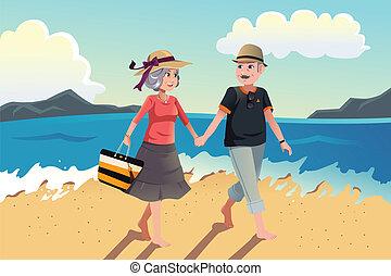sênior, andar, praia, par