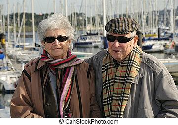sênior, antigas, par, feliz