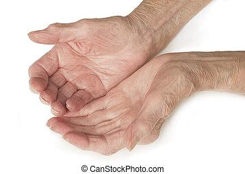 sênior, antigas, senhora, mãos, abertos
