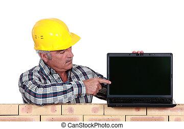 sênior, artesão, apontar, seu, laptop