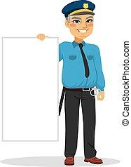 sênior, bandeira, segurando, policial