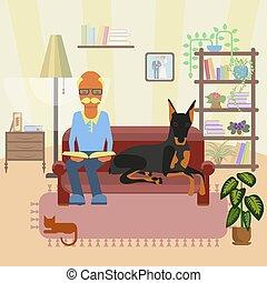 sênior, cão, homem