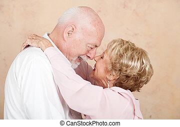 sênior, casamento, par, feliz