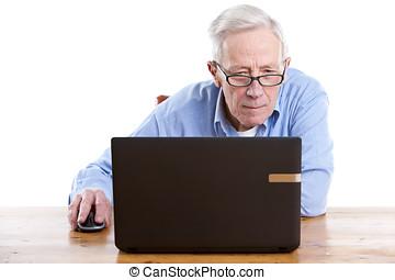 sênior, computador, atrás de