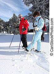 sênior, esqui, par