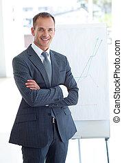 sênior, figuras vendas, homem negócios, elaboração do ...