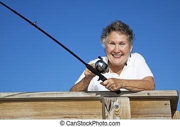 sênior, fisherwoman