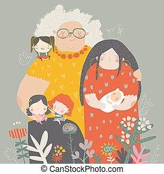 sênior, idades, adulto, diferente, mulheres, três, criança, vó, gerações, jovem, mãe