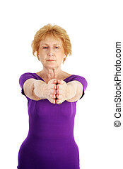 sênior, ioga, -, concentração