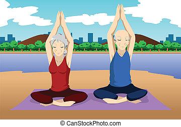 sênior, ioga, par, exercício