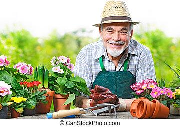 sênior, jardim flor, homem