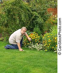 sênior, jardim, homem