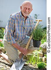 sênior, jardinagem, homem