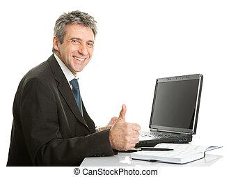 sênior, laptop, trabalhando, homem negócio